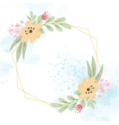 Blue flower wreath with golden frame on blue vector