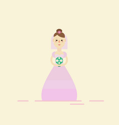 bride wearing wedding pink dress vector image