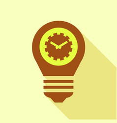 Brown bulb with clock inside icon flat style vector
