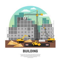 Building construction machinery flat composition vector