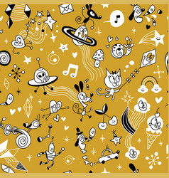 Cartoon comic characters group seamless pattern vector