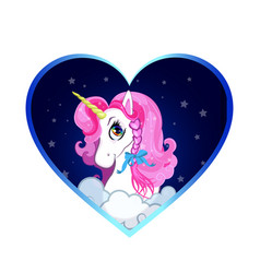 cartoon white unicorn head with pink hair vector image