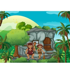Cave people living in the stone house vector image