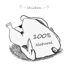Chicken from naturally stylish hand on a white vector