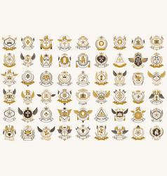 Classic style emblems big set ancient heraldic vector