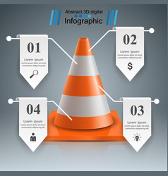 cone repair road infographic design template and vector image