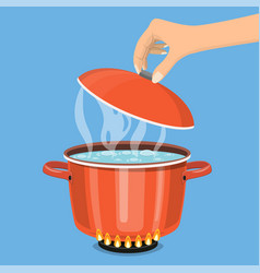 cooking pot on stove with water and steam vector image