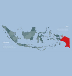 Country indonesia map with islands province papua vector