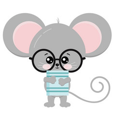 Cute mouse stand with glasses and book in paws vector