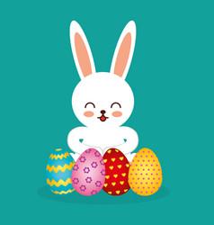 cute rabbit character easter season vector image