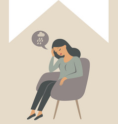 depressed woman sitting alone inside house vector image