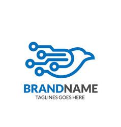 Digital bird logo vector