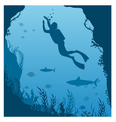 dive deep in water vector image