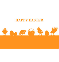 easter banner with chickens and eggs vector image