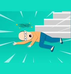 Fainted old man after falling from staircase art vector