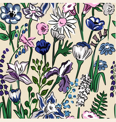 floral pattern meadow flowers vector image