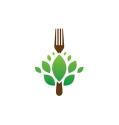 fork leaf restaurant eco logo vector image