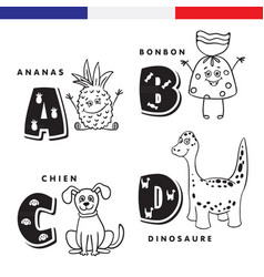 french alphabet pineapple sweet dog dinosaur vector image