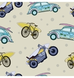 Fun Surfboards On Transport Cars Bicycles vector image