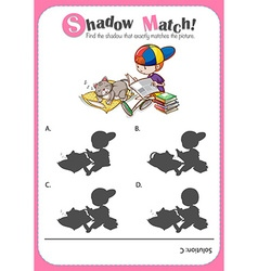 Game template with shadow matching boy and cat vector