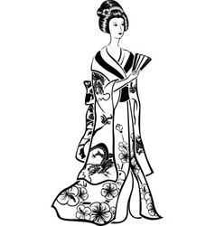 Geisha in traditional costume vector