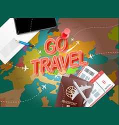 go travel vacation concept with accessories vector image