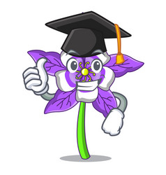 Graduation columbine flower character cartoon vector