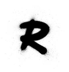 Graffiti small fat r font sprayed in black over vector