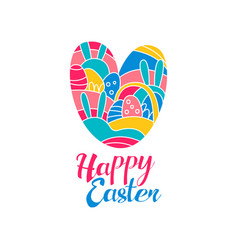 Happy easter day logo creative template with vector