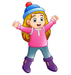 happy girl in winter clothes vector image