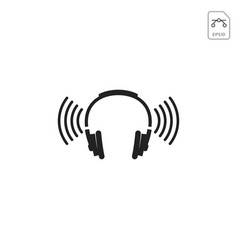 headphone wireless logo design or icon isolated vector image
