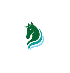 horse green head and steed for logo design vector image