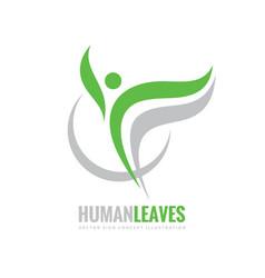 Human character - green leaves - logo vector