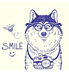 Husky smile doodle vector image vector image