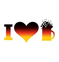 I love beer logo for Oktoberfest German flag Sign vector