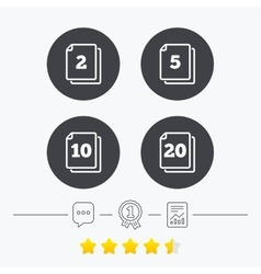 In pack sheets icons Quantity per package vector