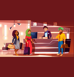 Indian guests registering in hotel cartoon vector