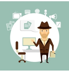 journalist talks about working in his office vector image