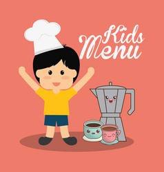 Kids menu boy chocolate vector