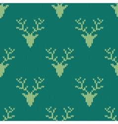 Knitted sweater with deer seamless pattern vector