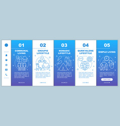 Lifestyle types onboarding mobile web pages vector