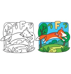 Little red fox coloring book alphabet f vector