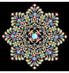 Mandala brooch jewelry design element vector