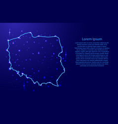 map poland from the contours network blue vector image