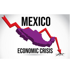 Mexico map financial crisis economic collapse vector
