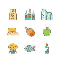 minimal lineart flat food iconset tea pack wine vector image