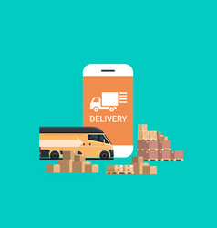 mobile delivery application cargo minivan loading vector image