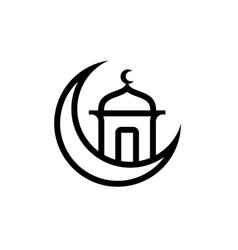 Mosque and the moon islamic symbol vector