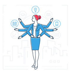 multitasking - line design style isolated vector image