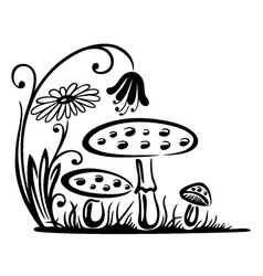 Mushrooms autumn vector image
